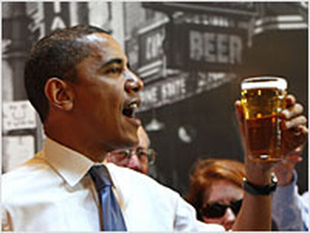 Democratic presidential candidate Barack Obama offers a toast at a bar in Raleigh, N.C., earlier this month.