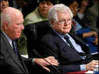 Sen. Edward Kennedy (right) talks with Sen. Patrick Leahy at a Senate Judiciary Committee session