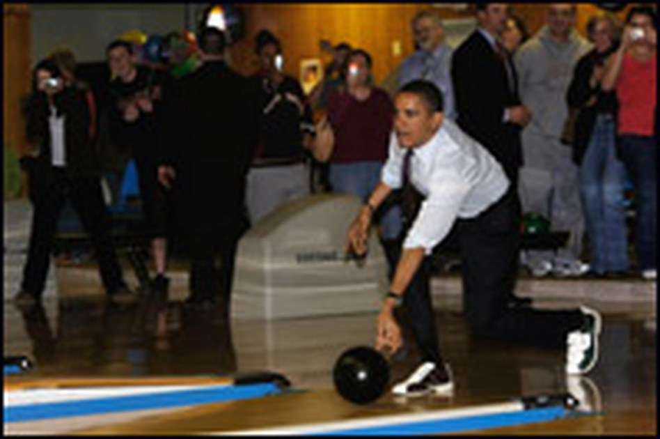 Obama has done activities such as bowling on the campaign trail to try to ramp up his support among white, working-class voters.