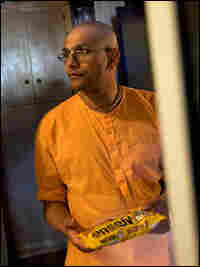 Pandit prepares to make butterscotch halava.