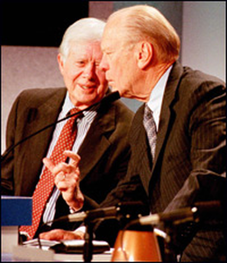 Former President Gerald Ford (right), a Republican, lost his re-election bid to Democrat Jimmy Carter after a protracted nomination fight.