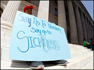 Bryan Red House of Crownpoint, N.M., protests uranium mining near his community.