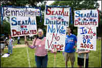 Protesters outside of the DNC Rules & Bylaws Committee meeting
