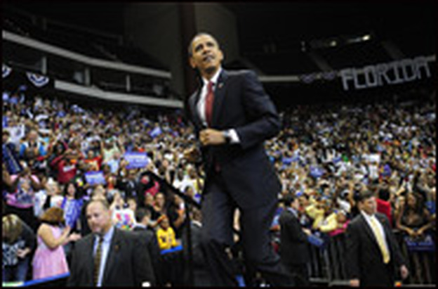 Sen. Barack Obama arrives during a rally in Jacksonville, Fla., on Nov. 3, 2008.