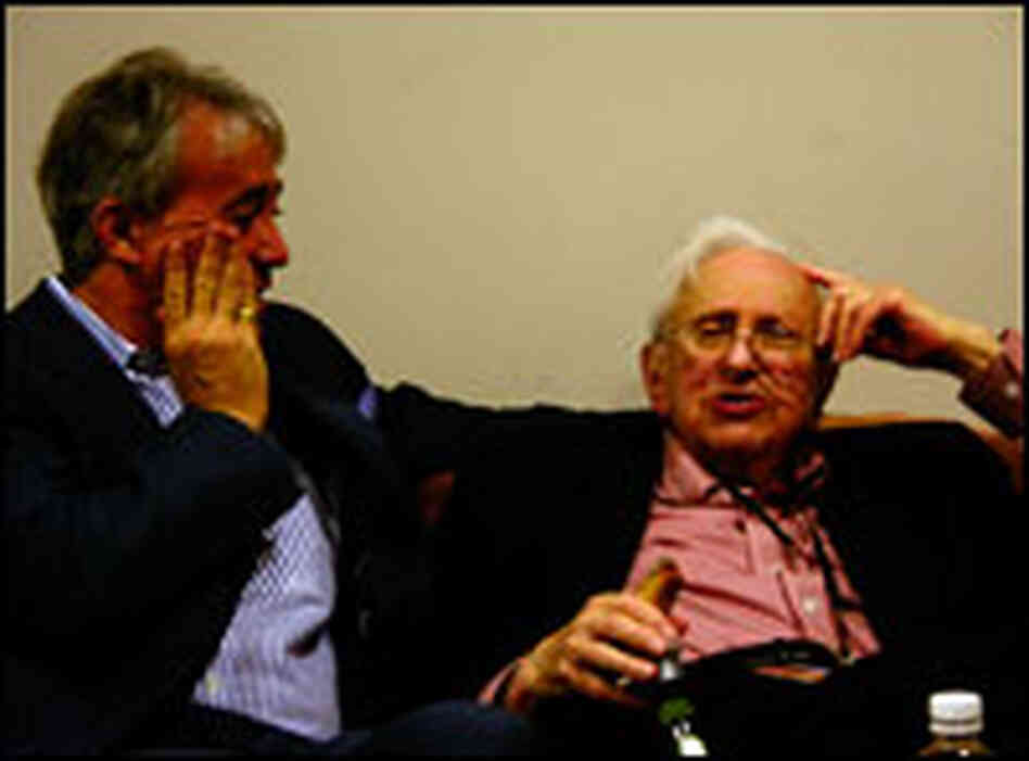 Scott Simon (left) chats with Studs Terkel during a visit in October 2005.