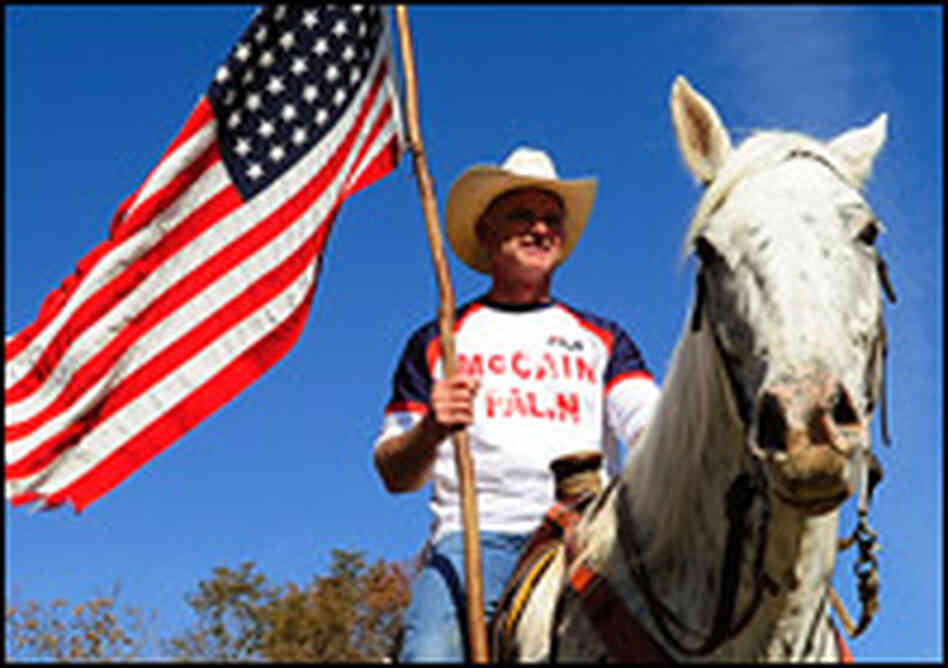 A McCain supporter from Virginia shows his support by riding his horse.