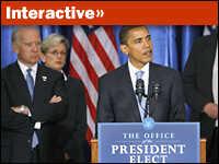 President-elect Barack Obama stands with Gov. Jennifer Granholm and V.P.-elect Joe Biden.