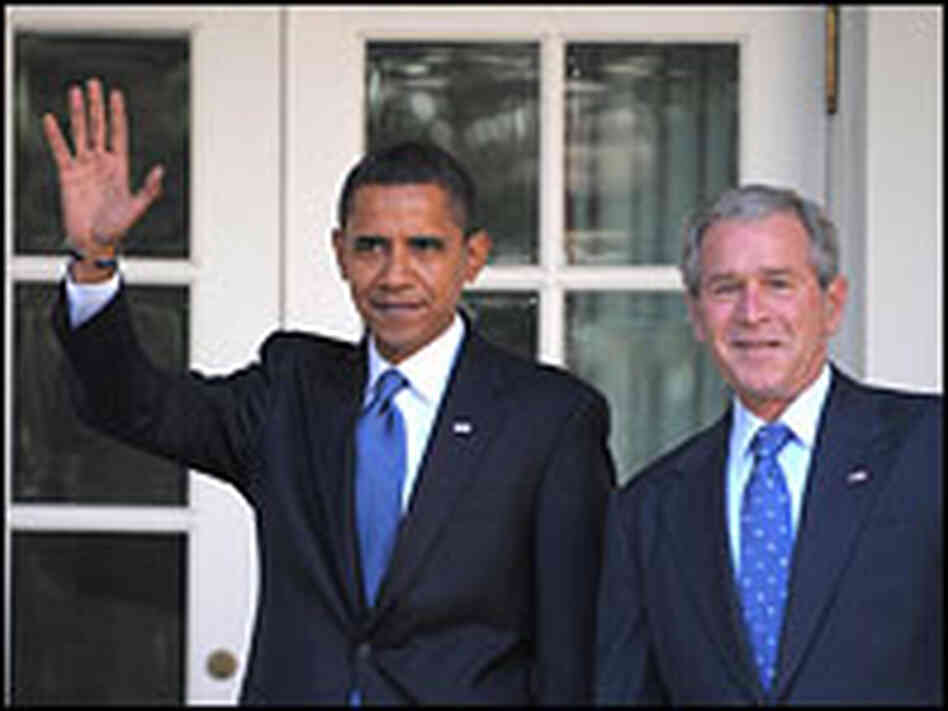 President-elect Obama (left) waves as President Bush welcomes him to the White House
