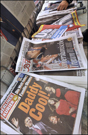 Obama photos grace the covers of German papers at a Berlin newsstand, Nov. 6, 2008.