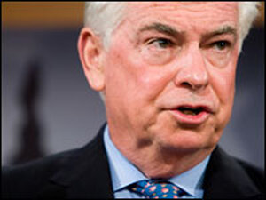 Senate Banking Committee Chairman Chris Dodd holds a news conference Nov. 6.
