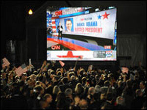 Supporters of Barack Obama cheer as CNN announces his election on Nov. 4 at Grant Pa