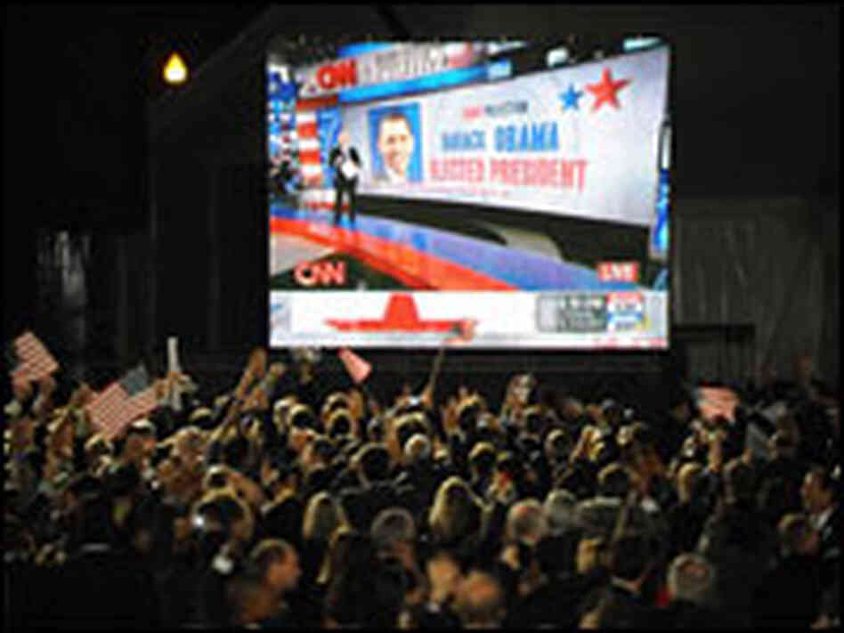 Supporters of Barack Obama cheer as CNN announces his election on Nov. 4 at Grant Park in Chicago.