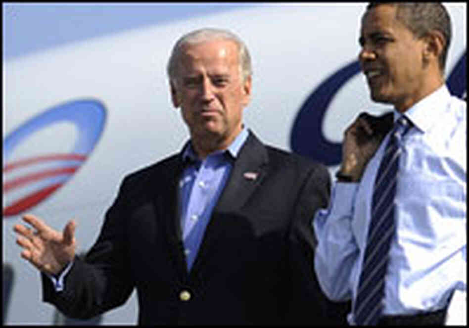 Democratic vice presidential candidate Joe Biden and his running mate, Barack Obama in Detroit.