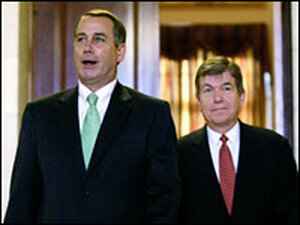 House Minority Leader John Boehner and Minority Whip Roy Blunt emerge from a meeting.