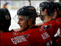Defensive prospect Karl Alzner on the Washington Capitals bench during a rookie scrimmage.