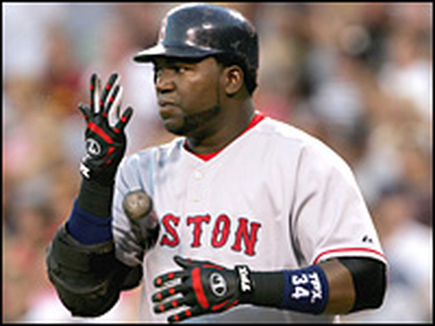 <strong>For Luck — Or Yuck?</strong> David Ortiz of the Boston Red Sox spits into his batting glove he prepares to hit in a 2006 game.