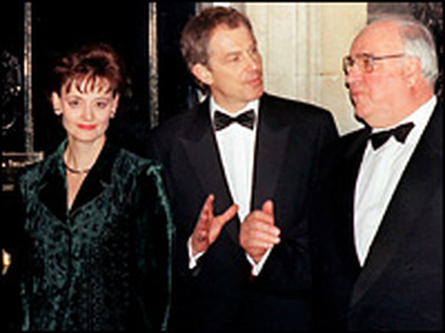 <strong>Silent No More</strong>: Cherie Blair, seen here with Tony Blair (center) and Germany's Helmut Kohl in 1998, is opening a window on the goings-on at No. 10 Downing Street.