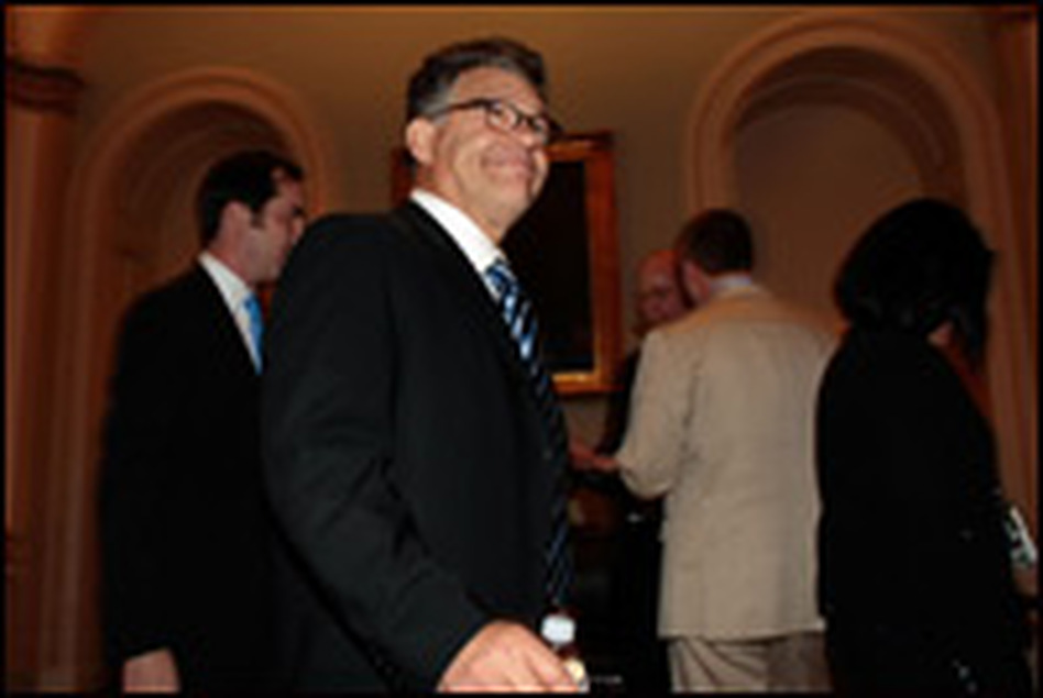 Al Franken, candidate for the U.S. Senate from Minnesota, leaves a Democratic policy meeting on Sept. 23 in Washington, D.C.