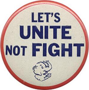 Let's Unite, Not Fight button