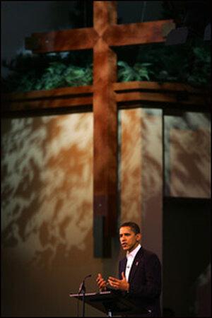 Sen. Barack Obama speaks at the Saddleback Church
