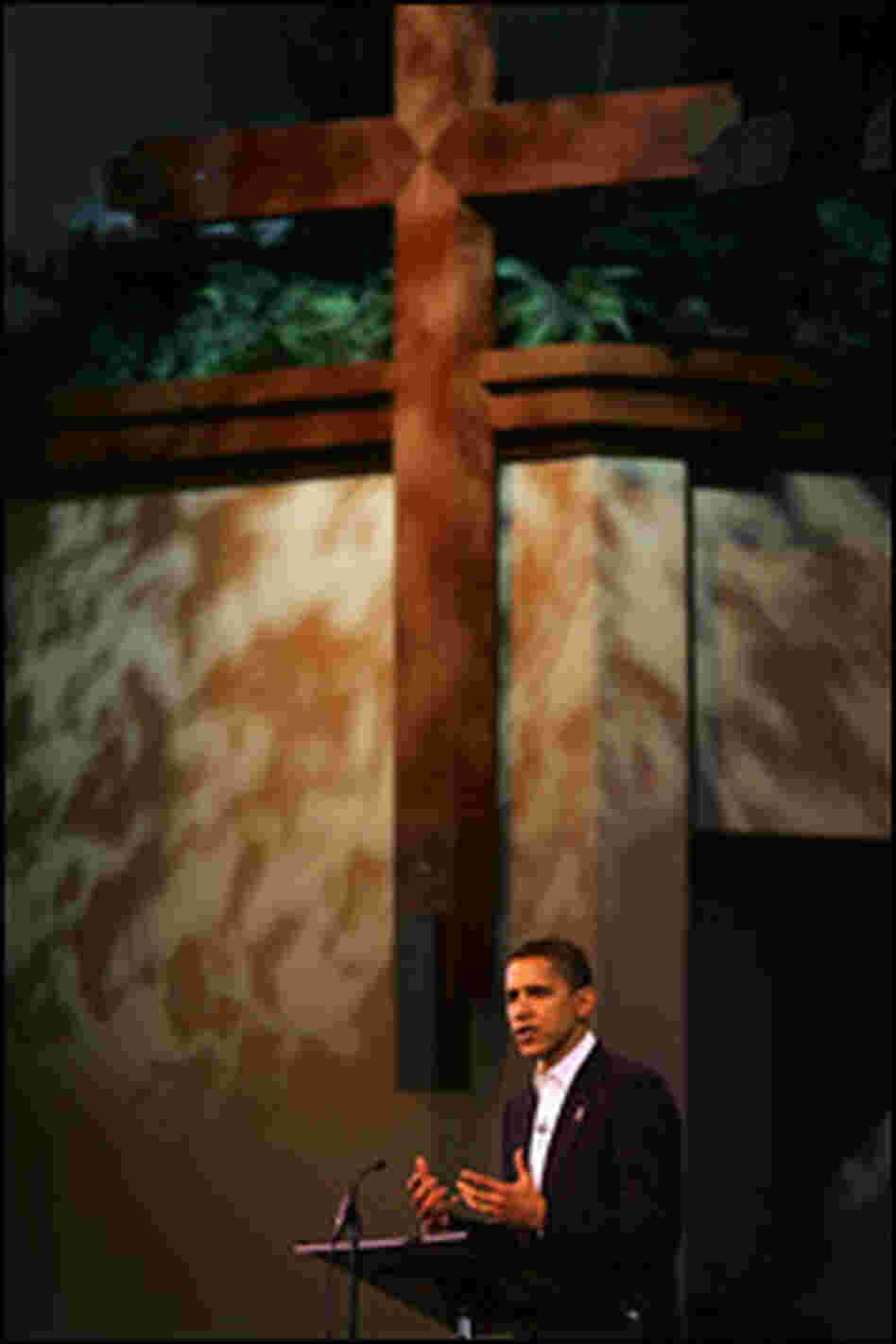 Sen. Barack Obama speaks at the Saddleback Church