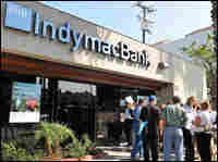 Customers in front of an IndyMac Bank branch in California.