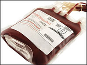 A bag of donor blood.
