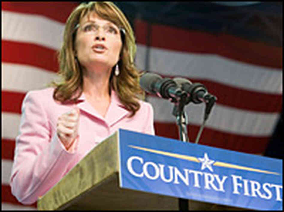 Republican vice presidential candidate Sarah Palin speaks during a campaign rally at the Silver Spur
