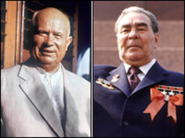 <strong>Visual Proof</strong>: The hirsute Leonid Brezhnev (right) succeeded Nikita Khrushchev as the most powerful man in the Soviet Union.