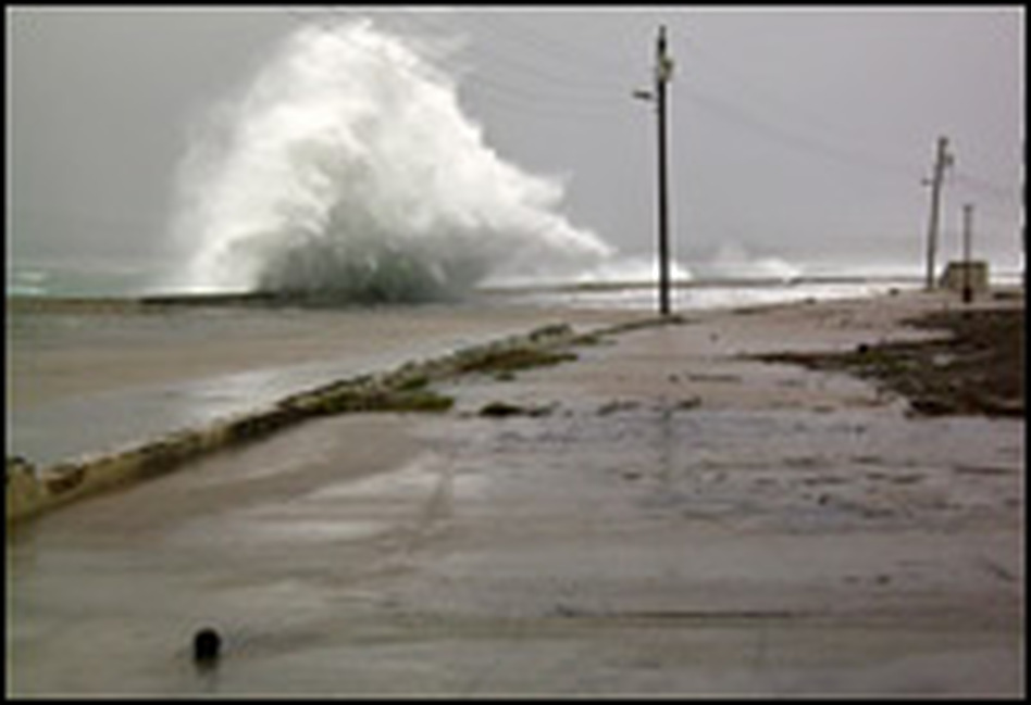 Waves hit the waterfront in Baracoa, Cuba, on Sunday.