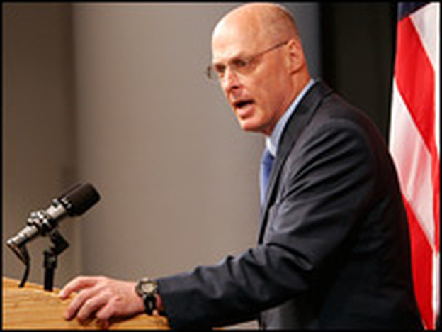Treasury Secretary Henry Paulson speaks at a news conference announcing a federal takeover of Fannie Mae and Freddie Mac on Sunday.