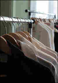 Behrens' dress shirts (foreground) are designed to prevent an indecent gap in the chest.