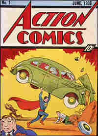 Cover illustration of the 1938 'Action Comics No. 1' featuring the first appearance of Superman.