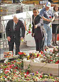 John McCain and Barack Obama pay their respects at ground zero on Thursday.