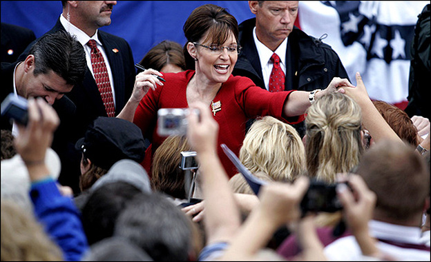 Some of the crowds Sarah Palin sees these days contain more people than Wasilla, Alaska. Here she campaigns in Lebanon, Ohio. (Getty Images)