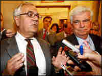 Rep. Barney Frank and Sen. Christopher Dodd talk with reporters on Capitol Hill.