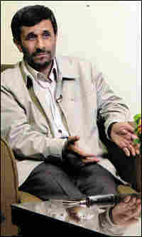 Iranian President Mahmoud Ahmadinejad speaks with NPR's Steve Inskeep in New York, Sept.  22, 2008.