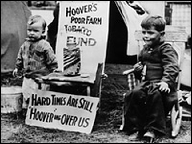 Two young residents passed the time at a Hooverville shantytown in Washington, D.C., in 1932.