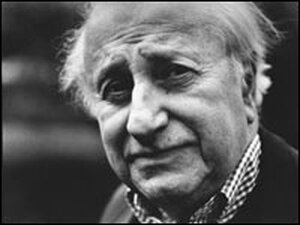Black and white portrait of Studs Terkel