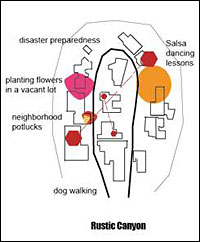 A diagram depicts a cul-de-cac commune in the Rustic Canyon neighborhood of Santa Monica, Calif.
