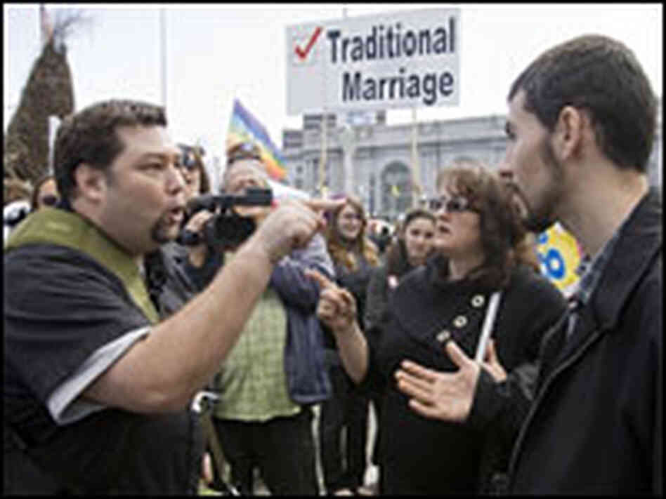 Two men argue about Proposition 8 in front of the California Supreme Court.