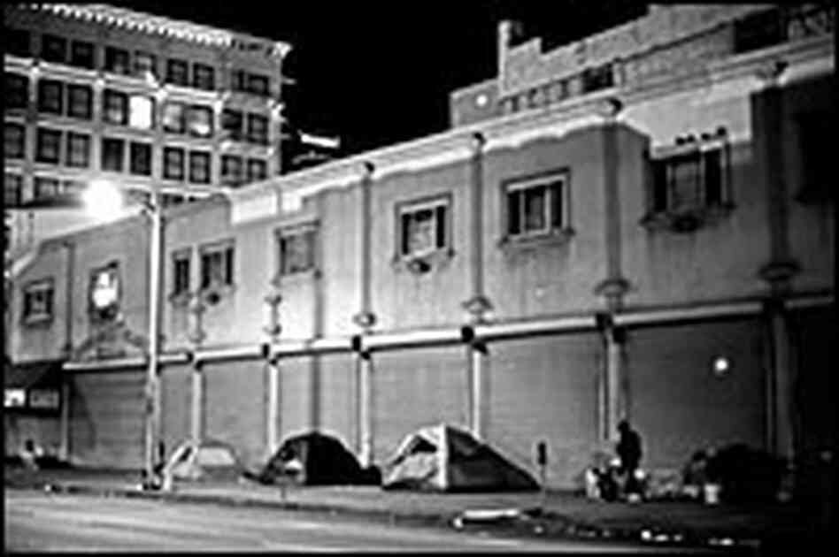 Tents line the street in Skid Row