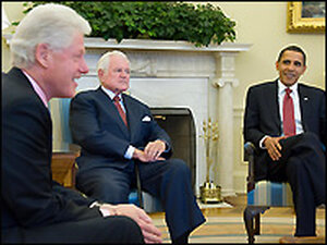 President Obama talks with former President Bill Clinton (left) and Sen. Edward Kennedy