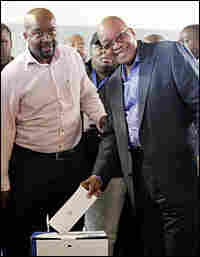 African National Congress leader Jacob Zuma casts his vote in South Africa's general elections