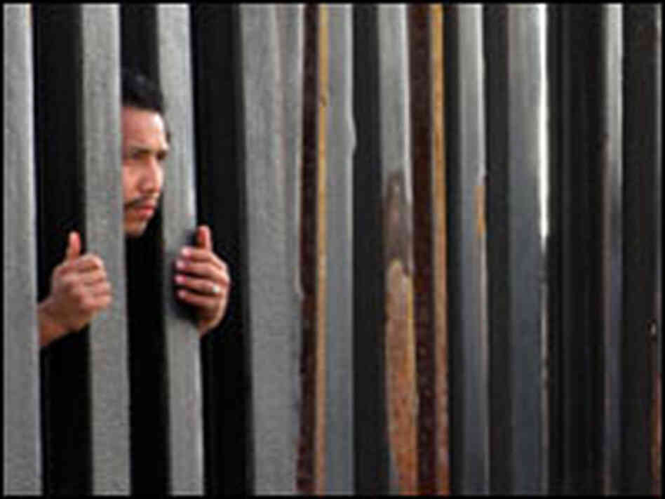 A man peers through the fence at the site where