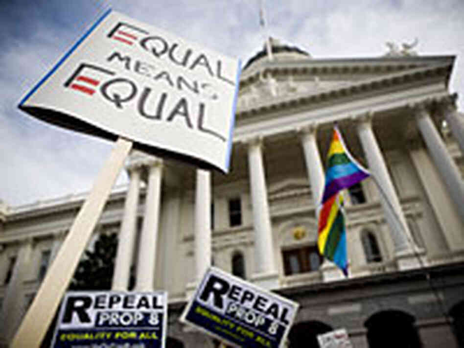 Supporters of gay marriage rally on the steps of California's state capitol in Sacramento Nov. 2008