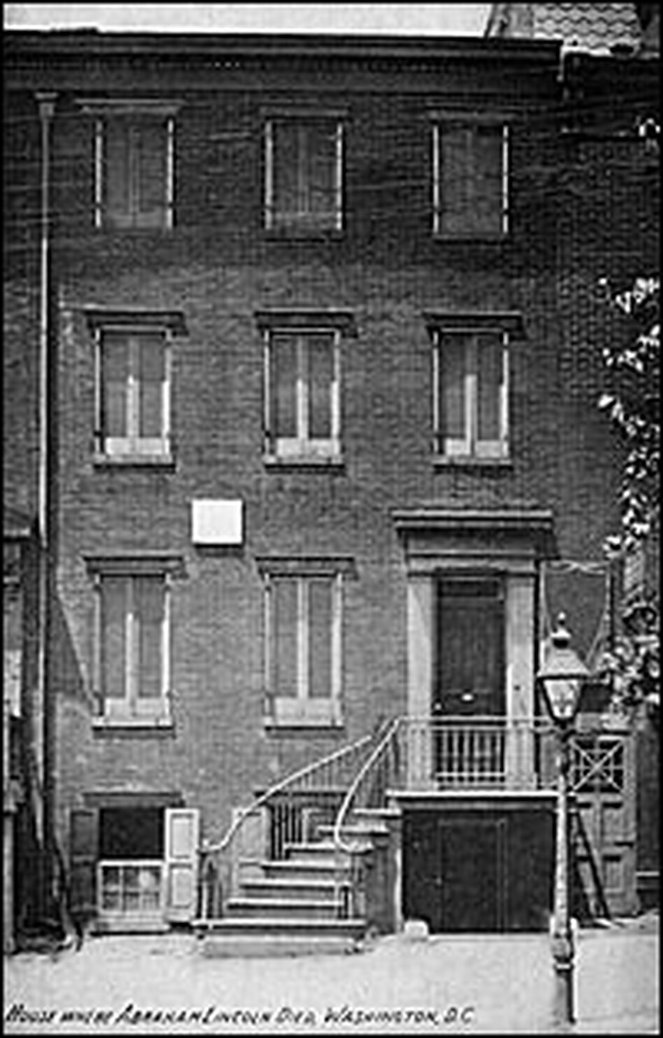 Petersen's Boarding House, circa 1900.  Lincoln was brought here, across the street from Ford's Theatre, after he was shot. He died of his injuries on the morning of April 15, 1865.