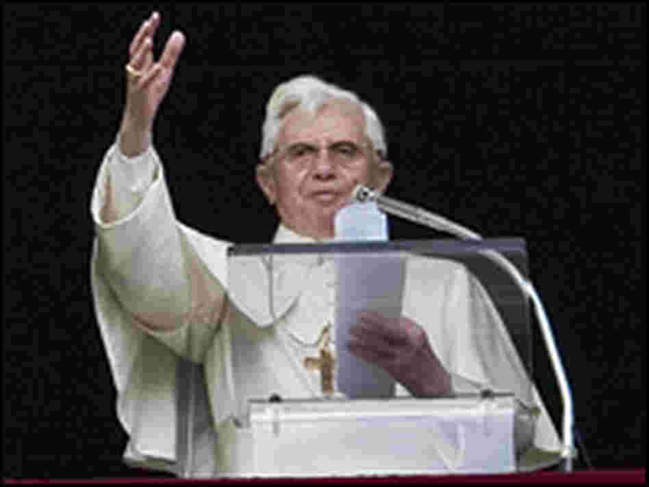 Pope Benedict XVI leads the Angelus prayer from the window of his private apartment at the Vatican.