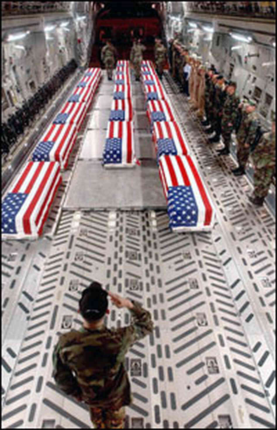 Image result for saluting falg draped coffin of U.S. soldier