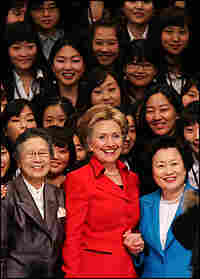Secretary of State Hillary Clinton with students at Ewha Womans University in Seoul, South Korea.